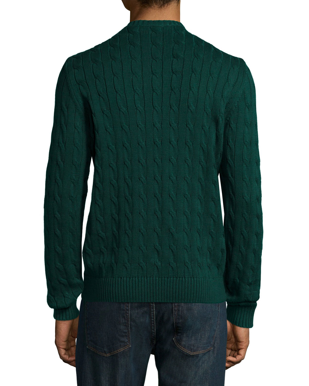 Lacoste Cable-knit Cotton V-neck Sweater in Green for Men | Lyst