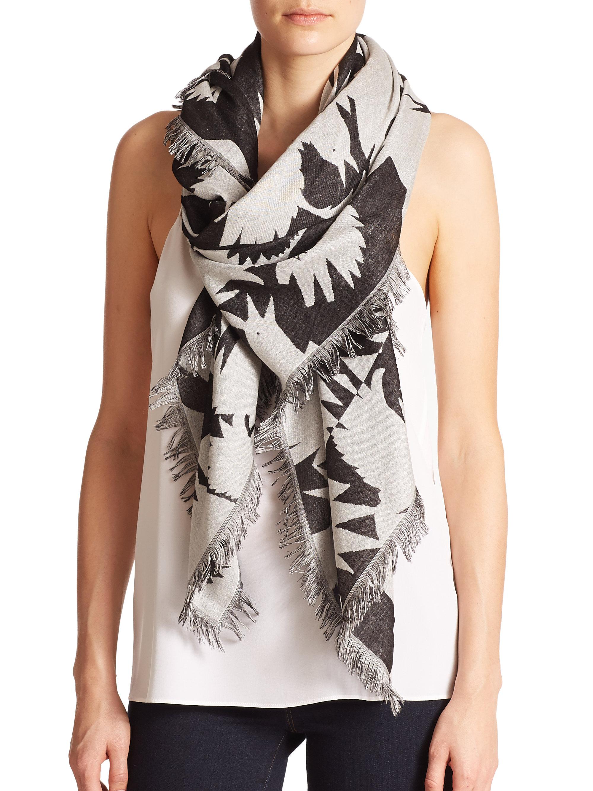 birds printed scarf - Green Alexander McQueen 8gwJJ2iCi