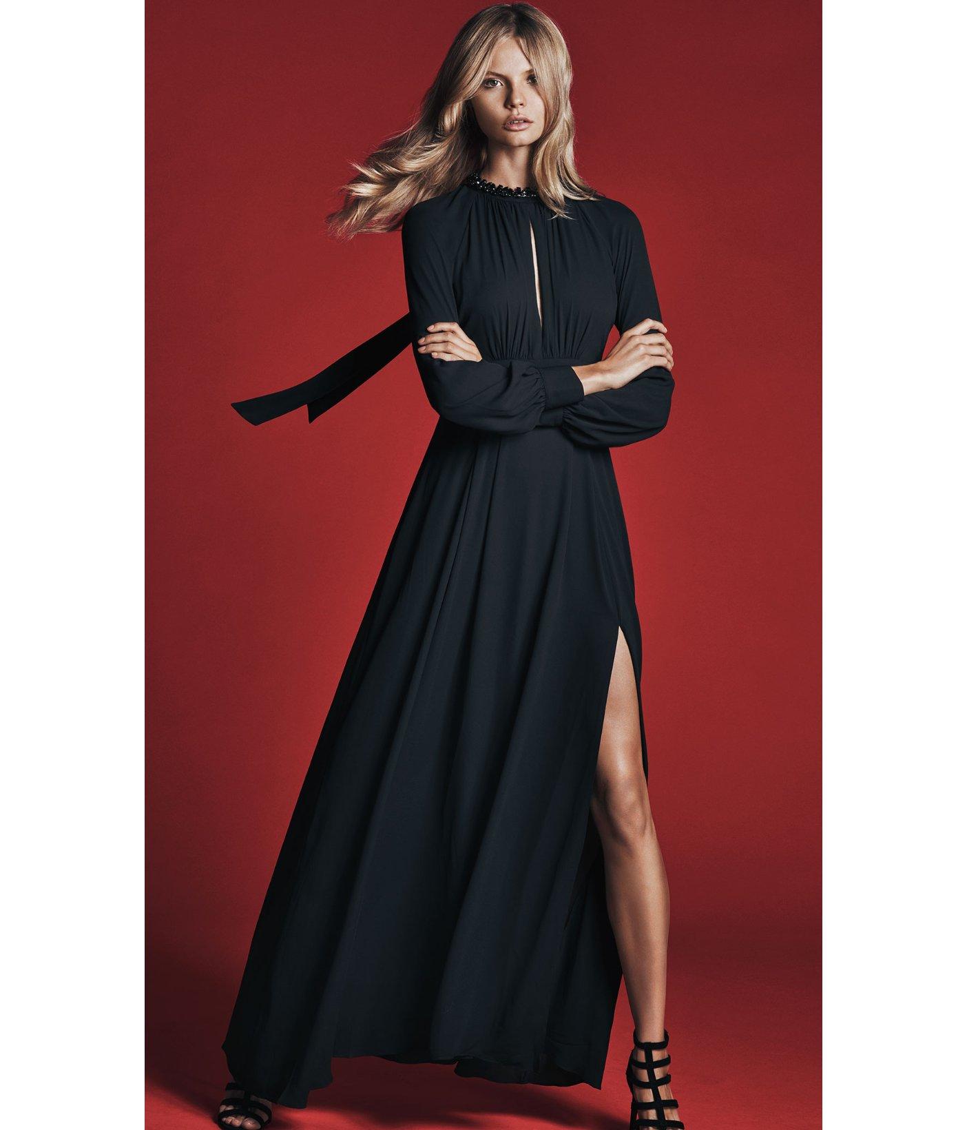 Black poet sleeve maxi dress express