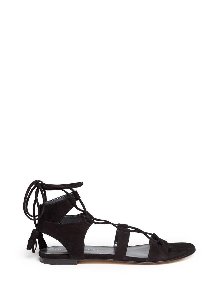 f9a5f4d64a45 Lyst - Stuart Weitzman  roman Flat  Suede Gladiator Sandals in Black