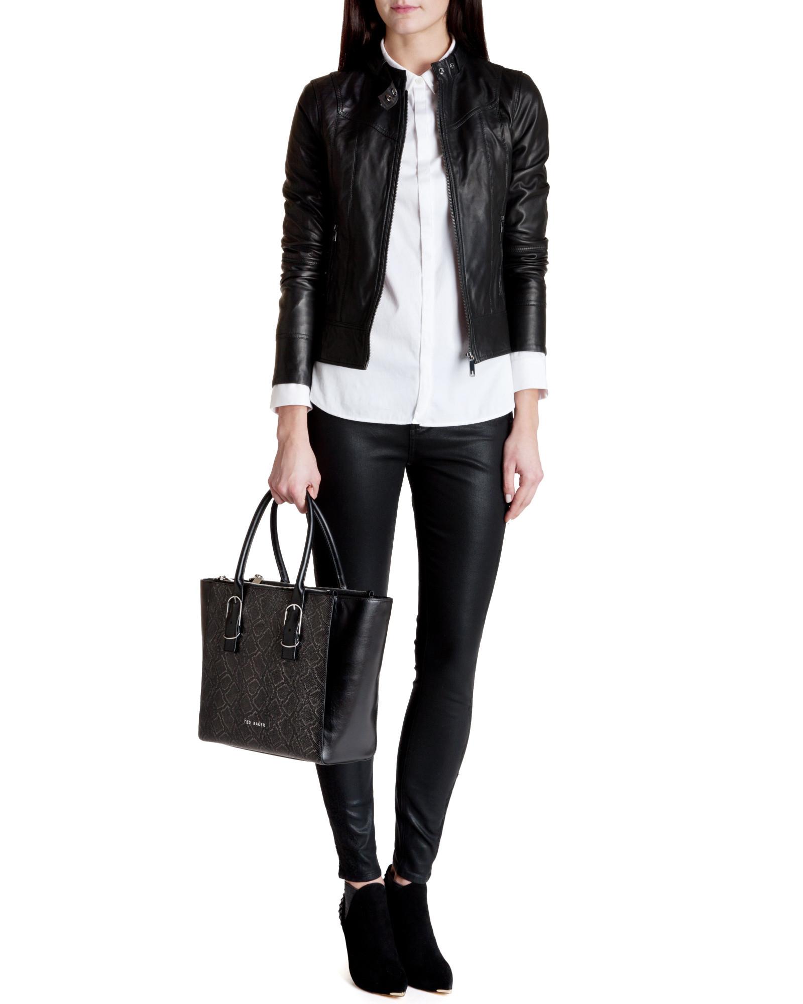 97ac8e0efefa52 Ted Baker Brezan Panelled Leather Jacket in Black - Lyst