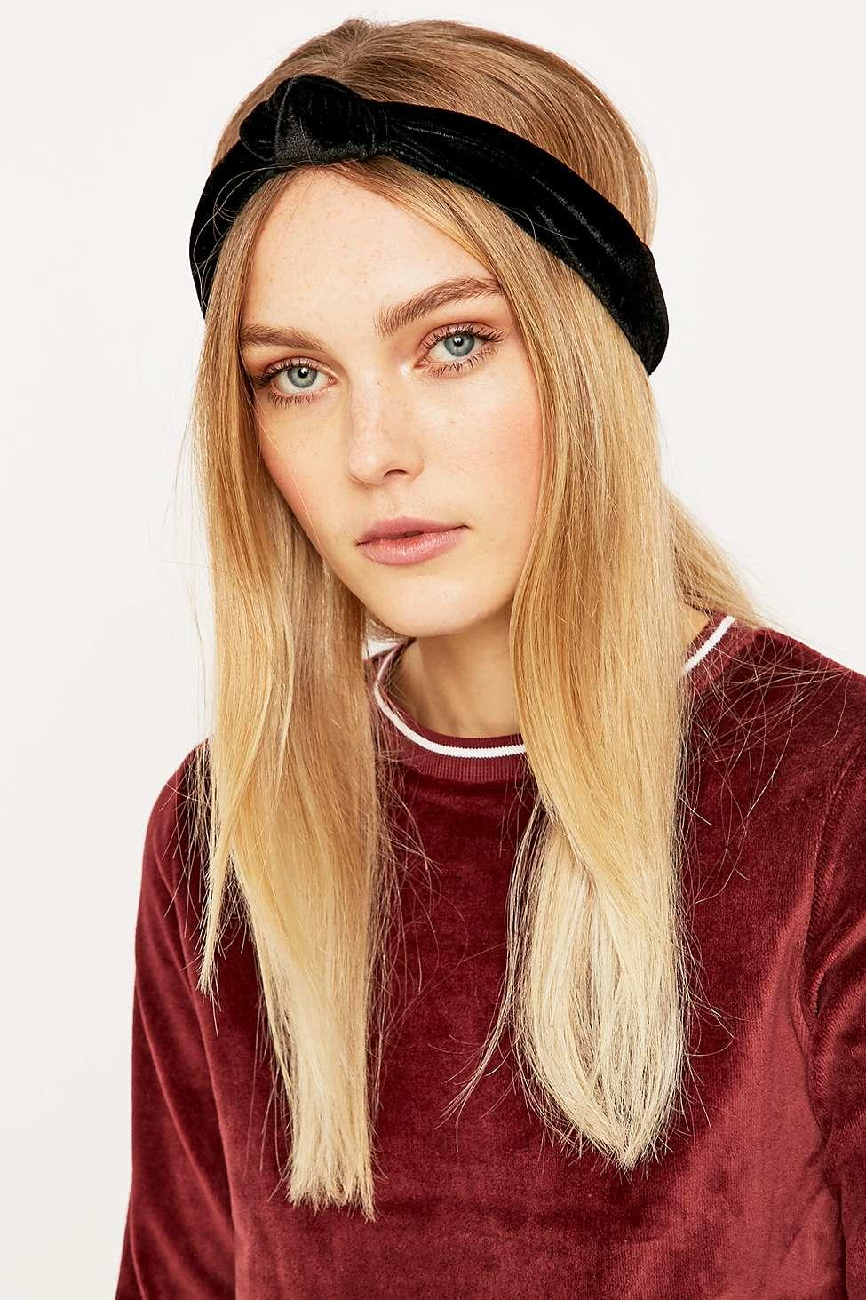 Urban Outfitters Velvet Black Knot Headband in Black - Lyst 3ea853d080e