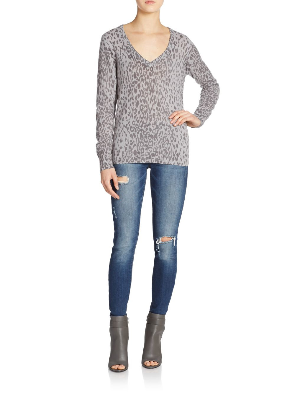 Equipment Cecile Cashmere Animal-print Sweater in Gray | Lyst