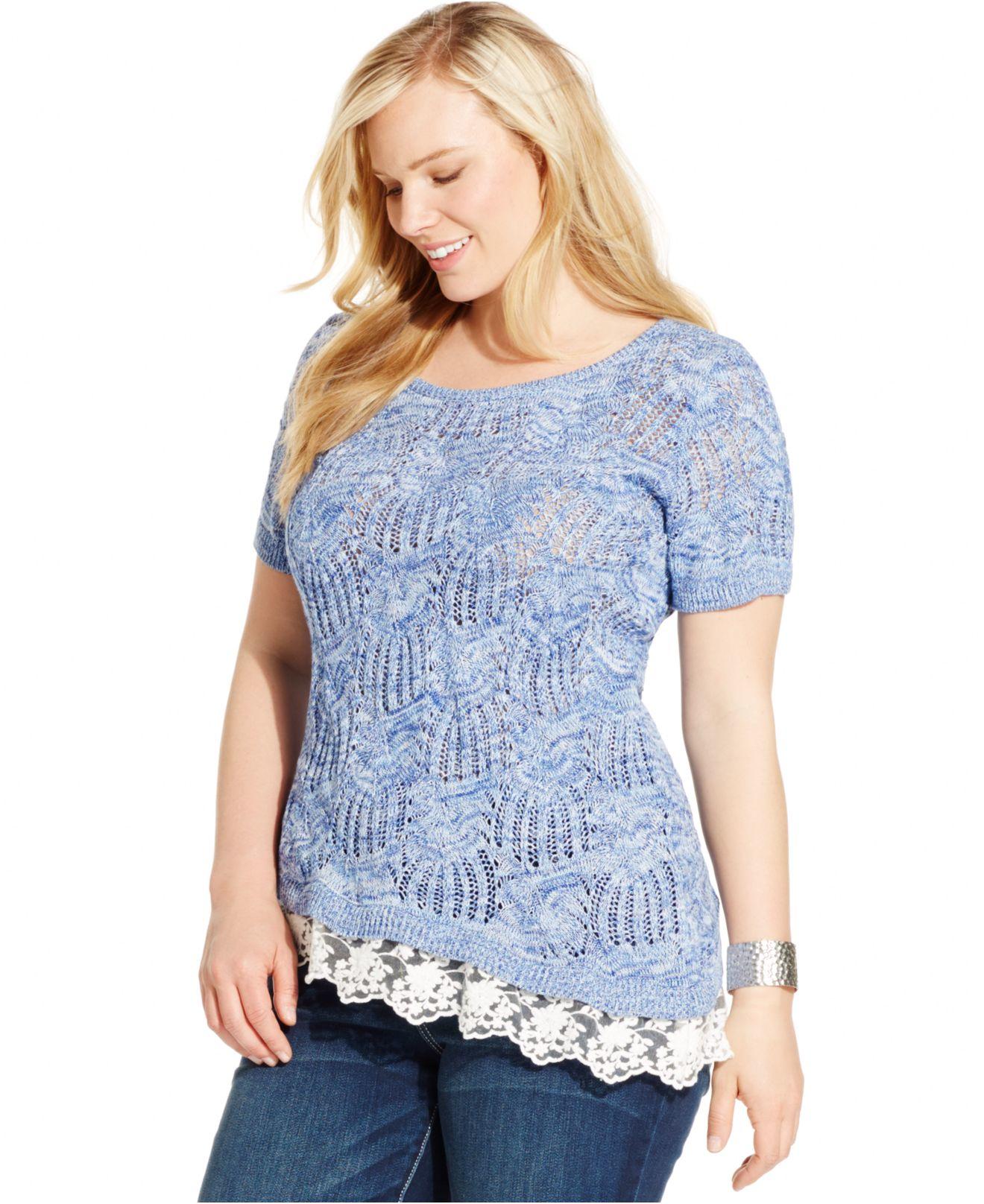 65989340ddd45 Lyst - INC International Concepts Plus Size Lace-hem Open-knit Top ...