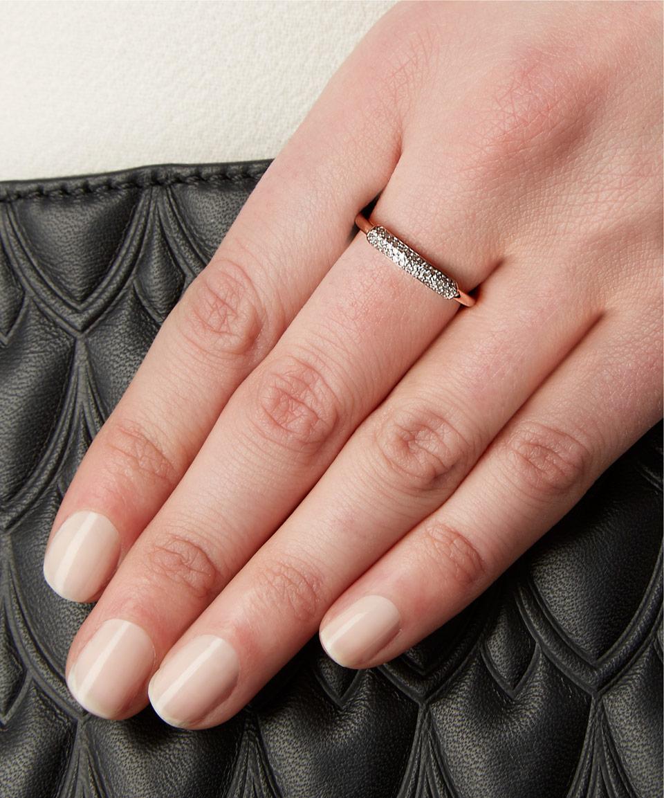 Stellar Champagne Diamond Stacking Ring, Rose Gold Vermeil on Silver Monica Vinader