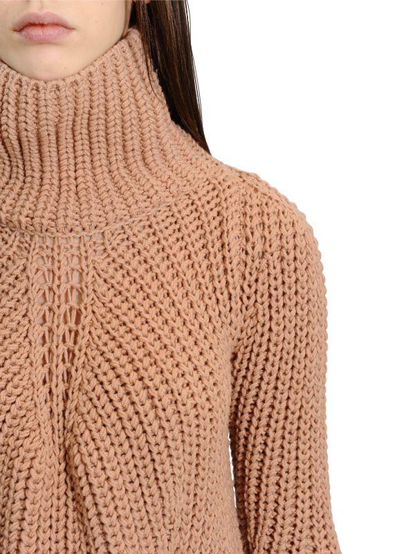 Gentry portofino Oversized Wool Turtleneck Sweater in Pink | Lyst