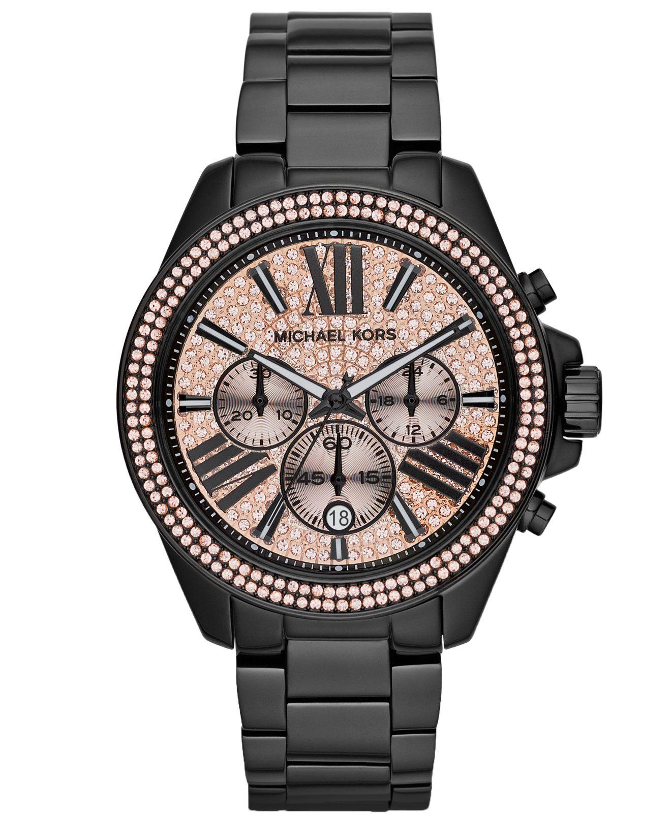 michael kors s chronograph wren black tone stainless