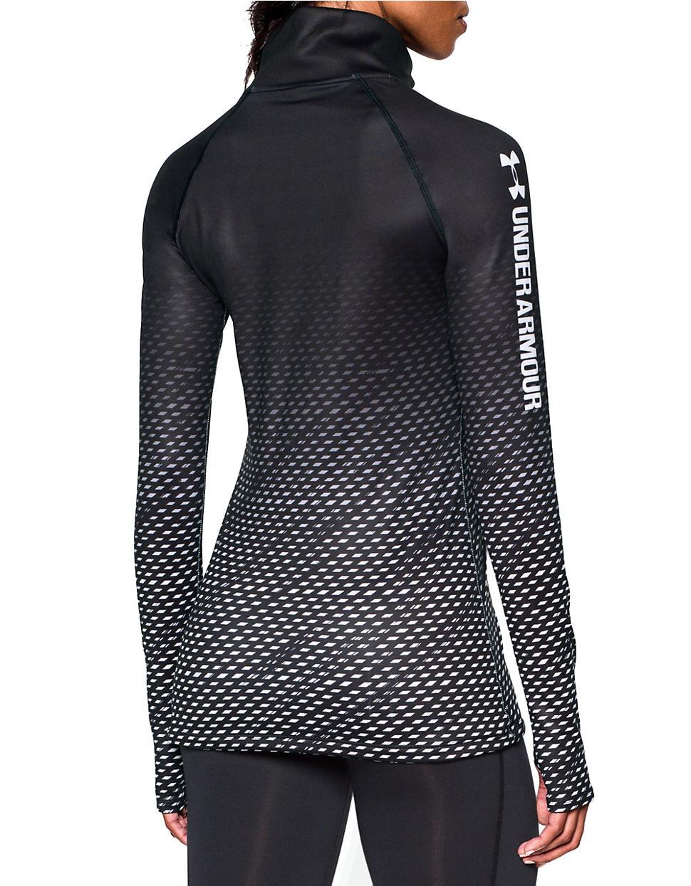 Under armour moisture wicking half zip shirt in black lyst for Moisture wicking dress shirts