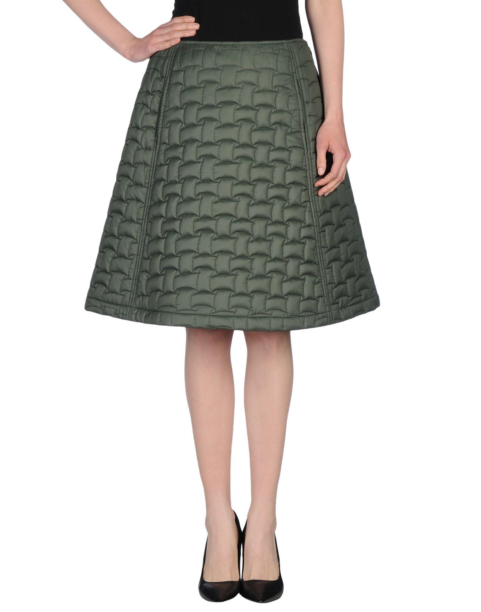 jil sander navy knee length skirt in green green