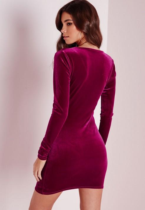 77f64da9c740 Missguided Velvet Wrap Over Bodycon Dress Raspberry in Red - Lyst