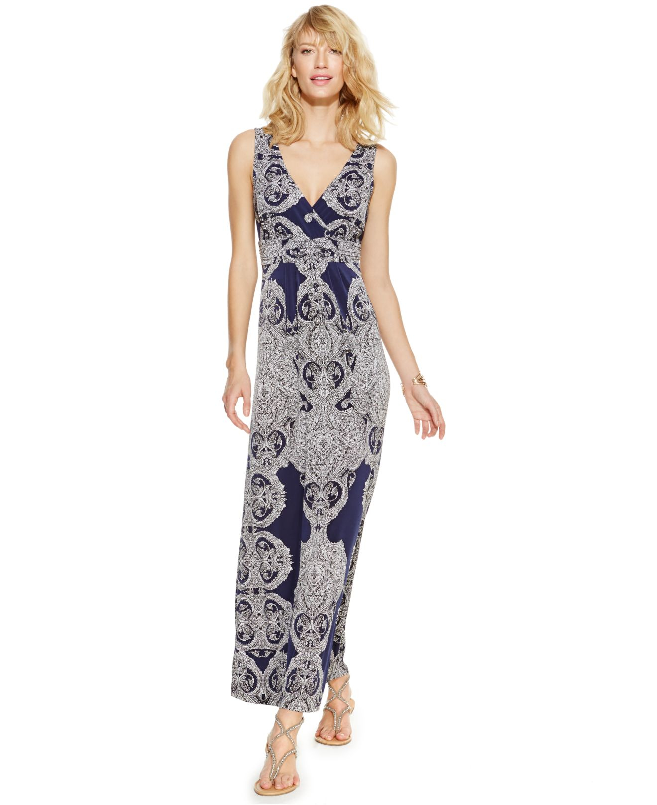 Inc international concepts Petite Printed Empire-waist Maxi Dress ...