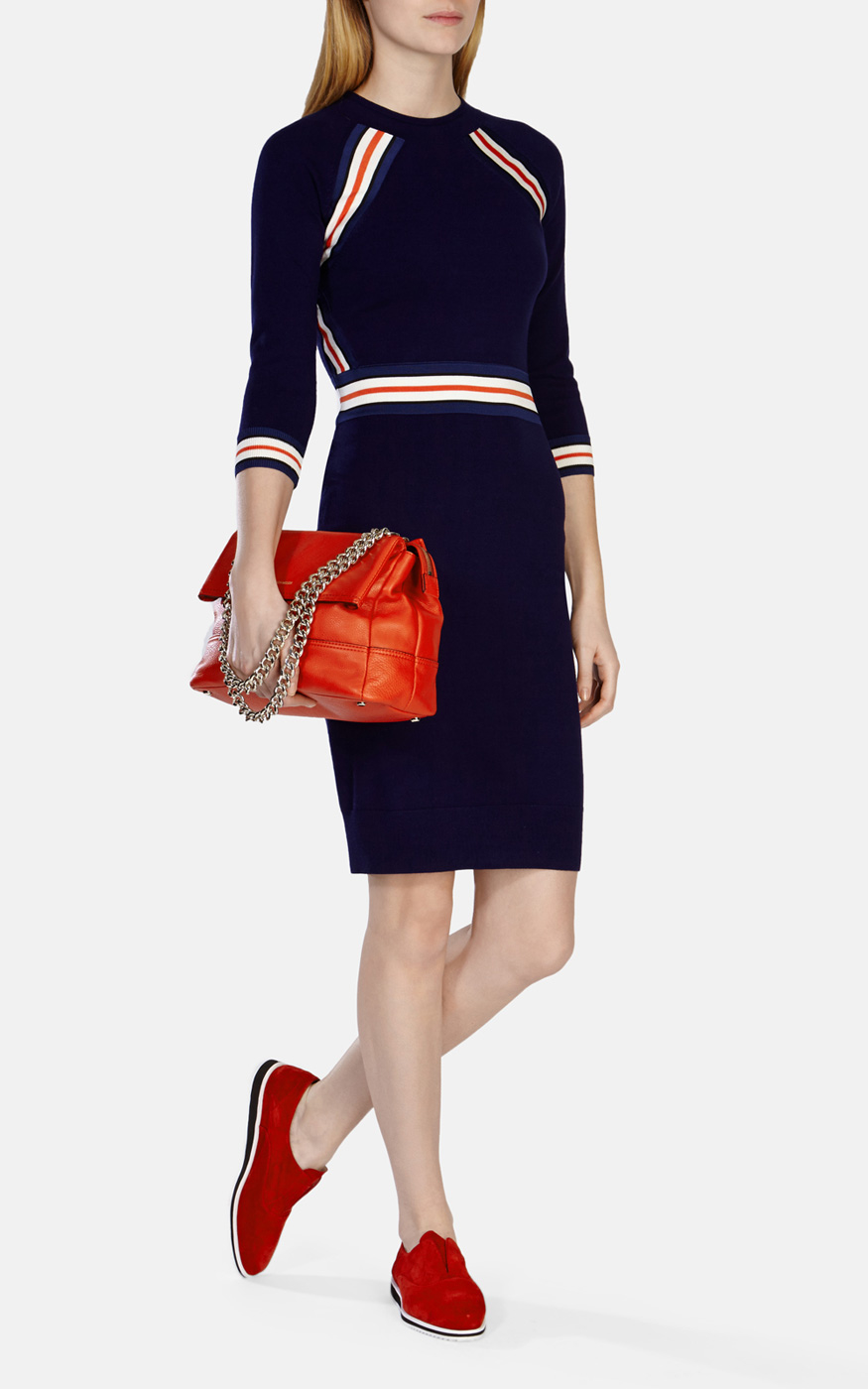 Karen Millen Stripe Stretch Knit Dress In Blue Lyst