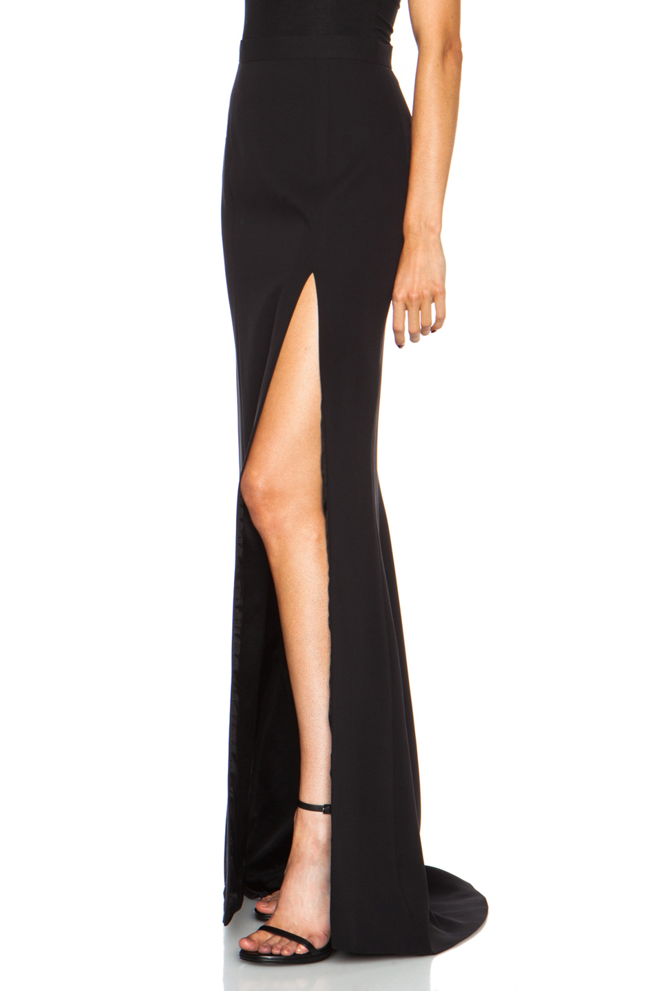 high slit black skirt j mendel long high slit silk skirt in black lyst 6702