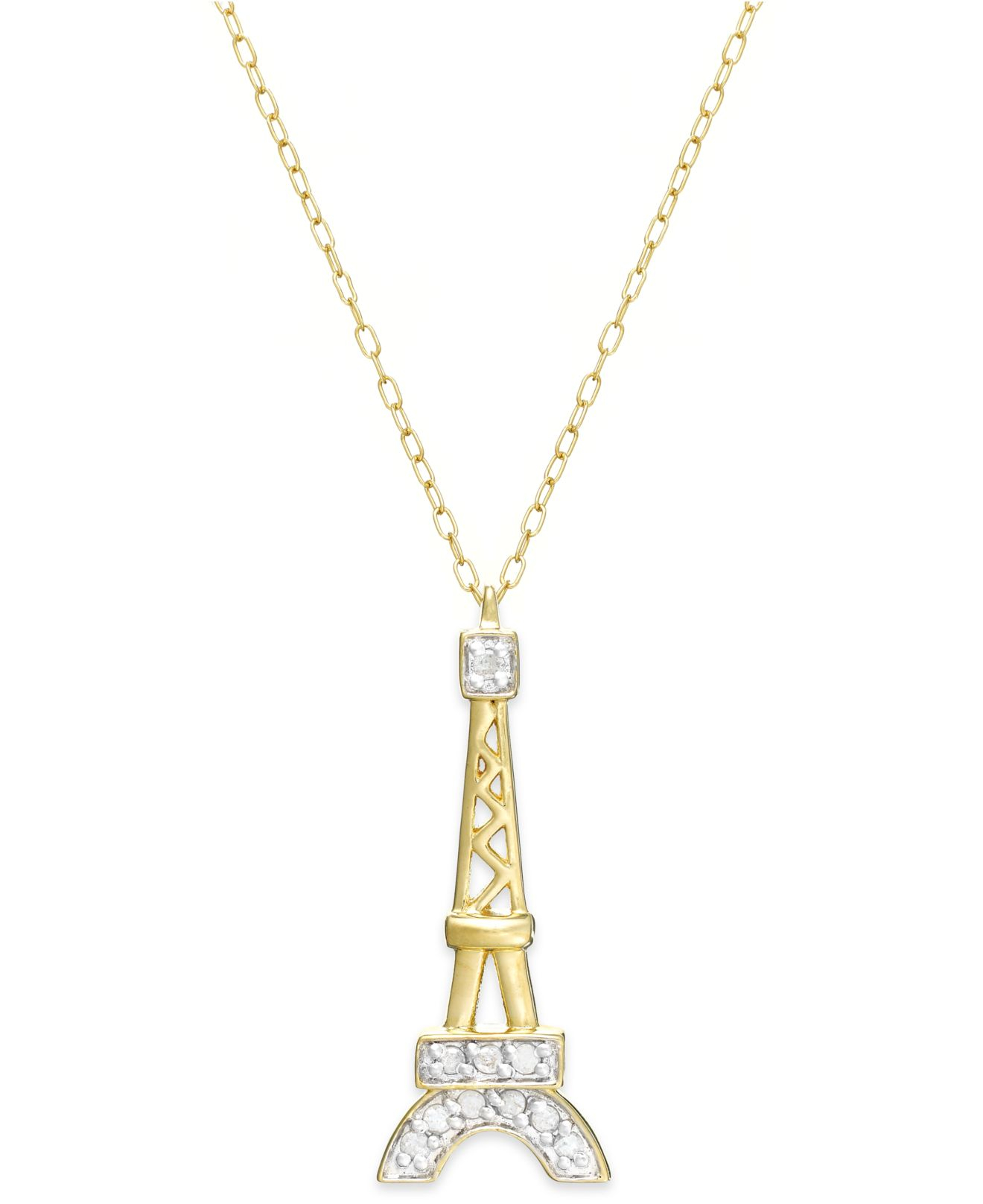 Lyst macys diamond eiffel tower pendant necklace in 18k gold over gallery aloadofball Image collections