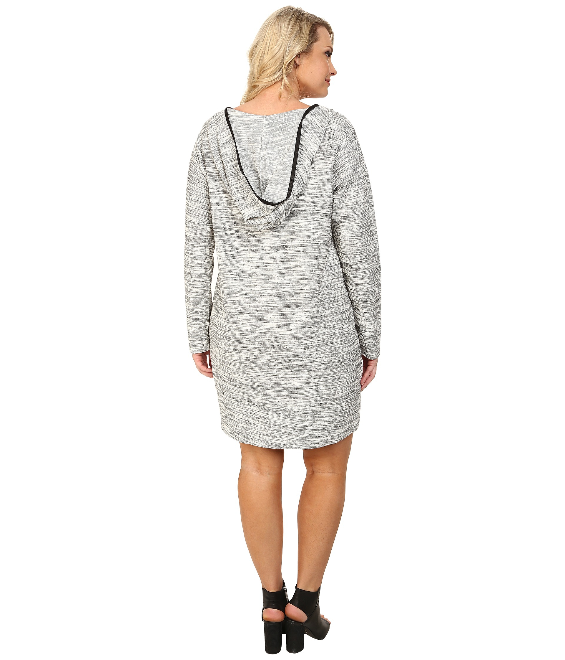 Dkny Plus Size Textured Hoodie Dress in Gray | Lyst