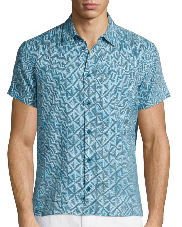 Orlebar brown batik print short sleeve linen shirt in blue for Men s batik bay silk blend button down shirt