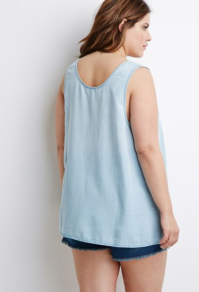 21 Pastel Blue Bedroom Designs Decorating Ideas: Forever 21 Plus Size Chambray Tank Top In Blue (Light Blue