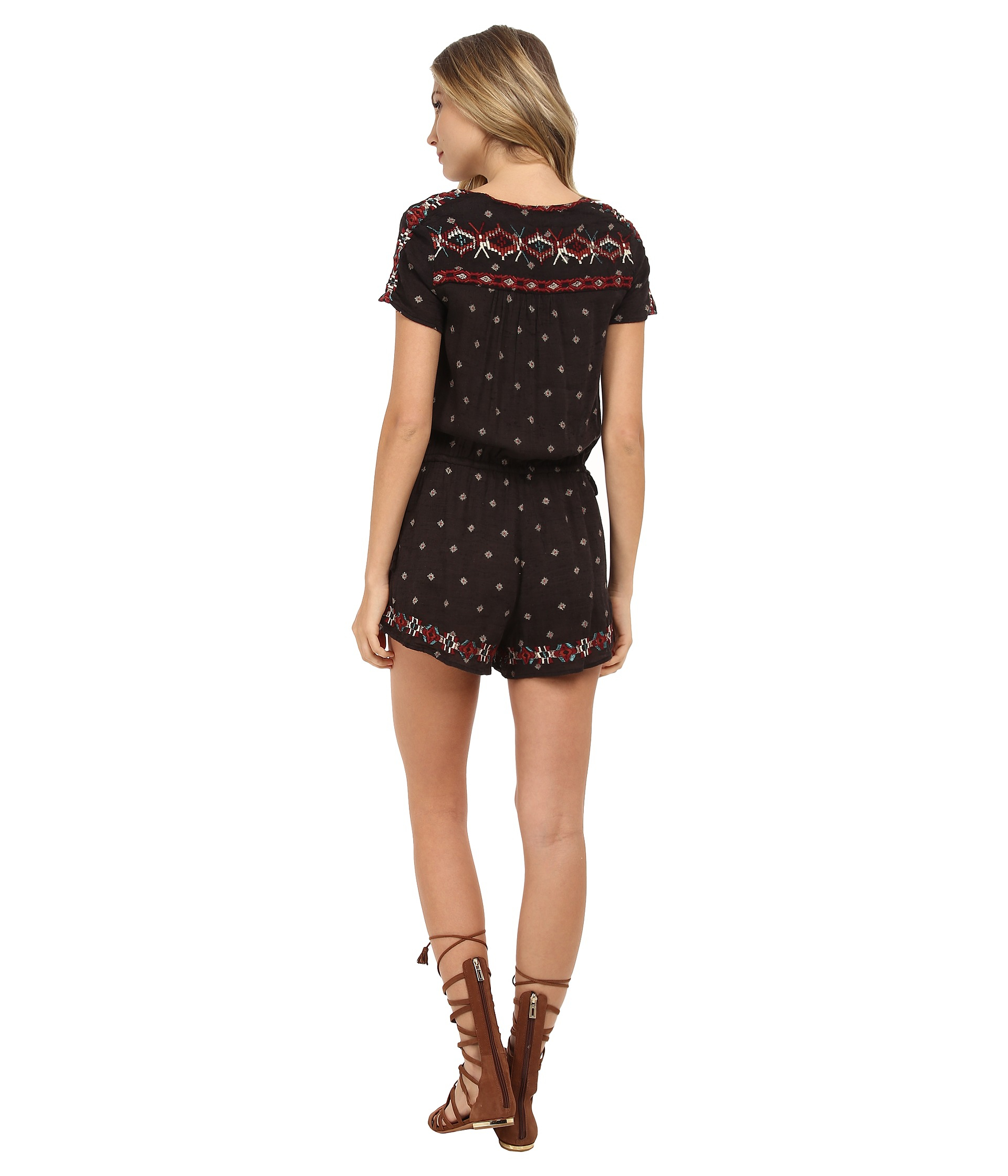 84d890235ac5 Lyst - Free People Cotton Noyal Song For You Romper in Black