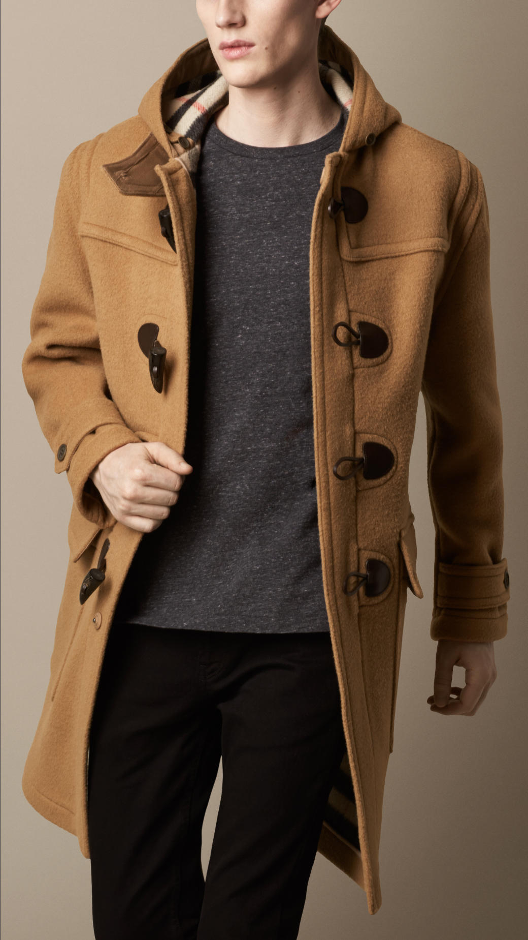burberry oversize wool duffle coat in natural for men lyst. Black Bedroom Furniture Sets. Home Design Ideas