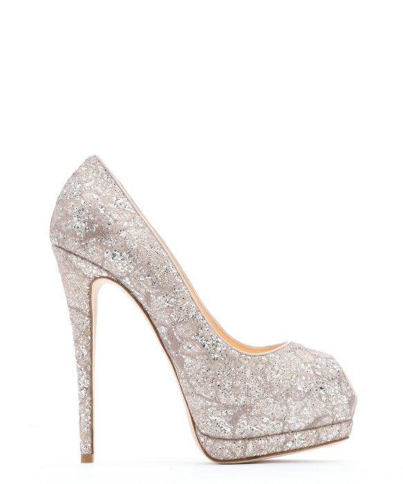 Giuseppe Zanotti Pale Pink Glittered Lace U0027sharonu0027 Peep Toe Pumps ...
