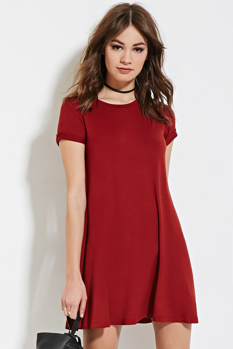 Forever 21 A-line T-shirt Dress in Red | Lyst