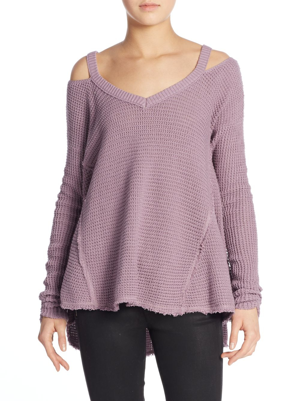 Lyst Free People Waffle Knit Cold Shoulder Sweater In Purple