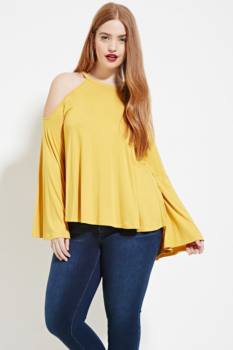 forever 21 plus size open-shoulder top in yellow | lyst