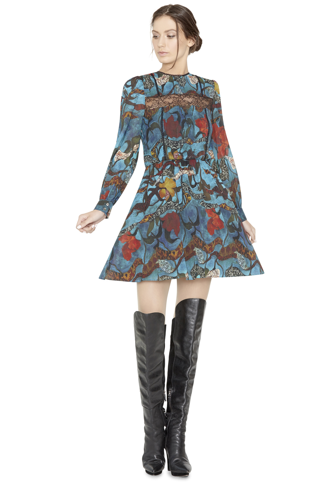 Alice Olivia Aimee Pintuck Lace Insert Dress In Black Lyst