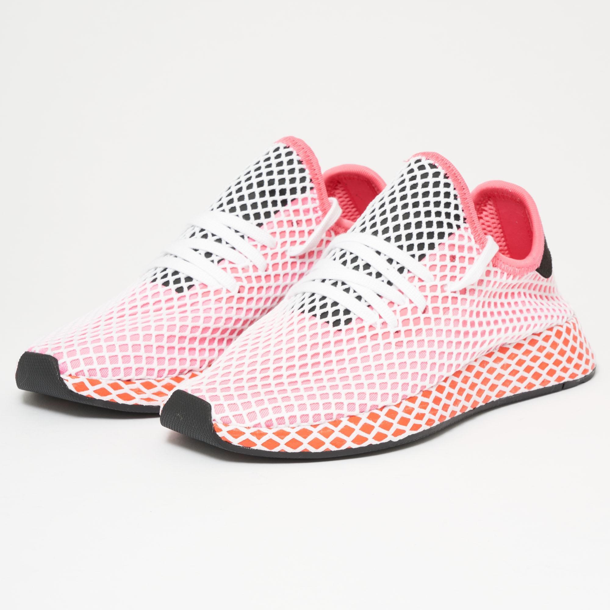 cb18ebe0ecd02 adidas Originals Deerupt Runner - Chalk Pink   Bold Orange in Pink ...
