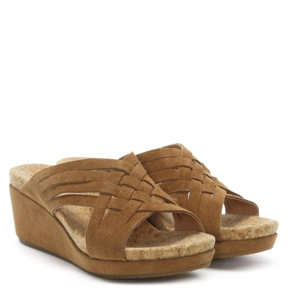 b016e542eb9 Ugg - Brown Lilah Chestnut Suede Criss Cross Wedge Sandals - Lyst. View  fullscreen