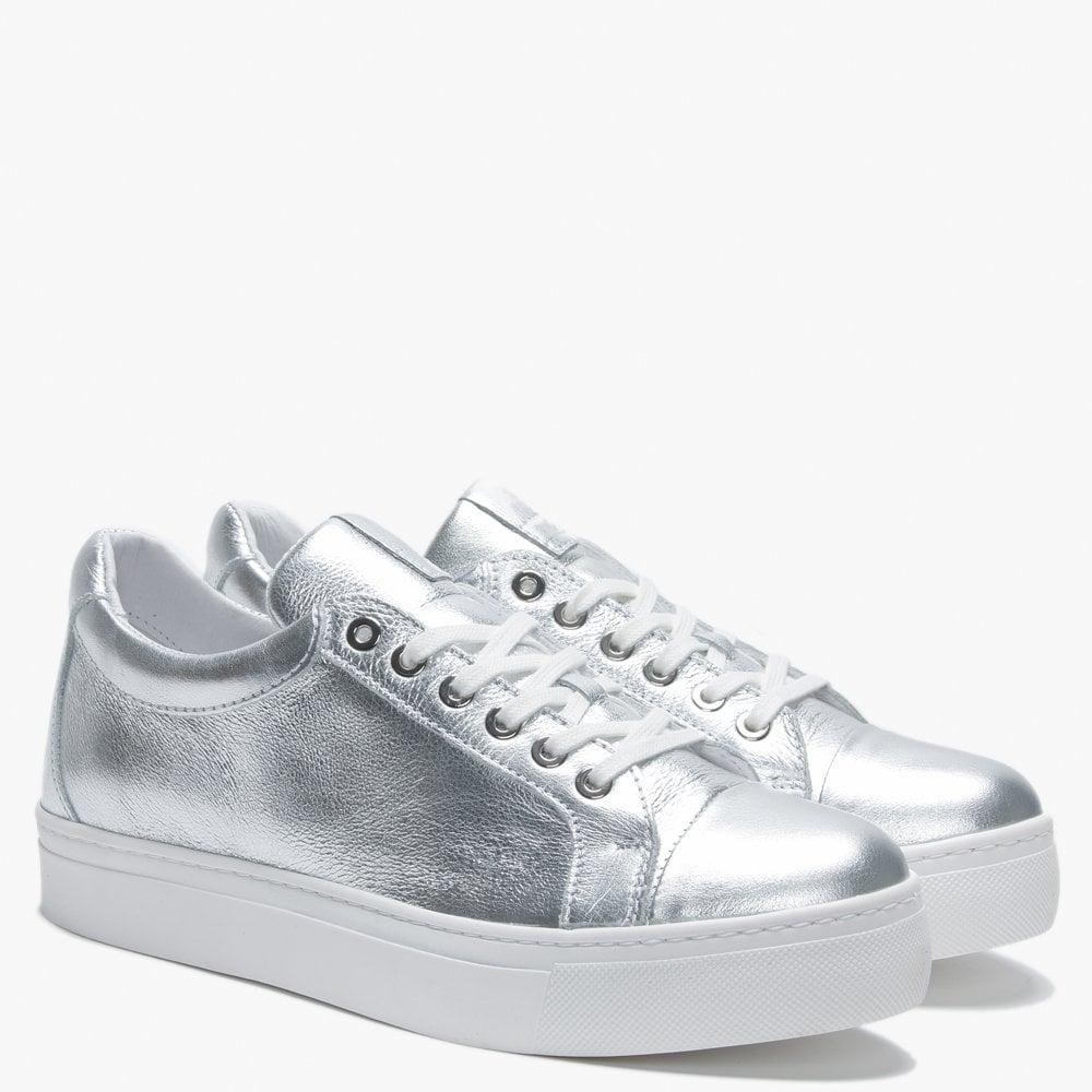 9cbf6f02c8dfa Daniel - Svenja Silver Metallic Leather Trainers - Lyst. View fullscreen