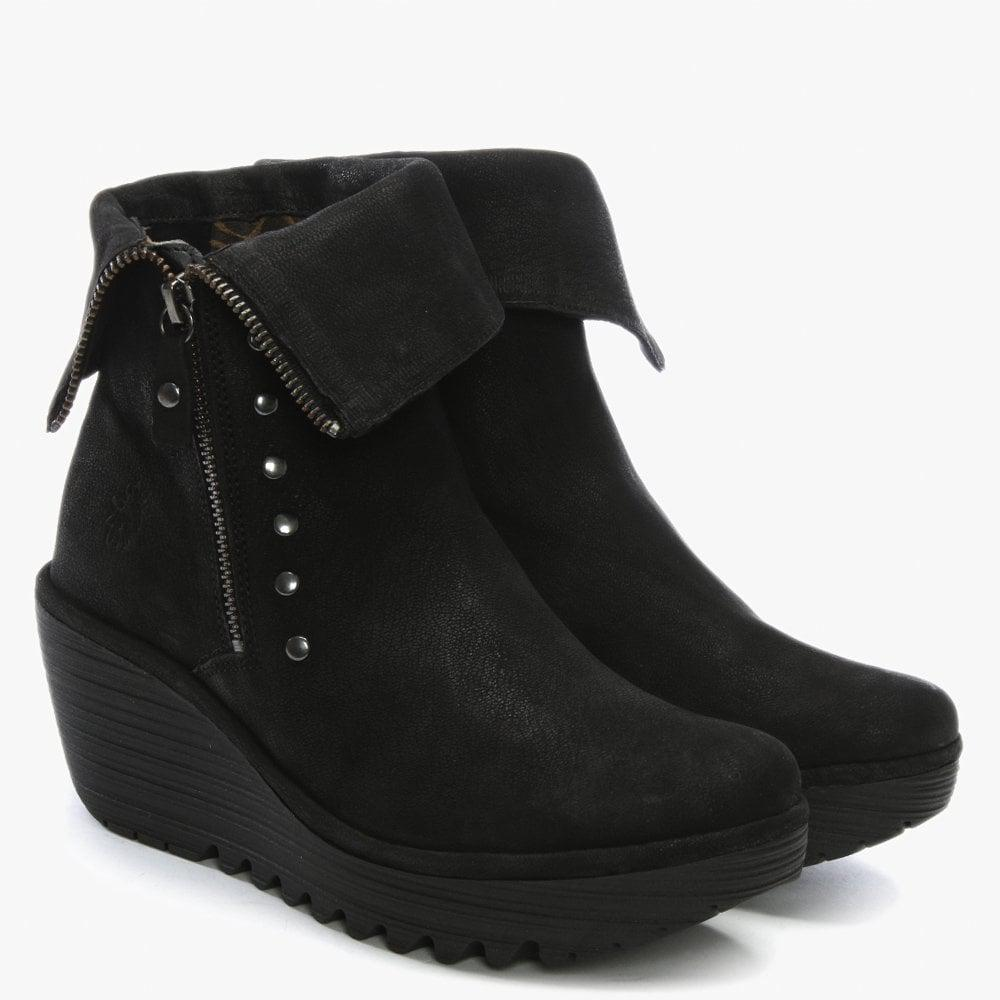 4d0ebeb080b Fly London - Yemi Black Suede Mid Wedge Ankle Boots - Lyst. View fullscreen