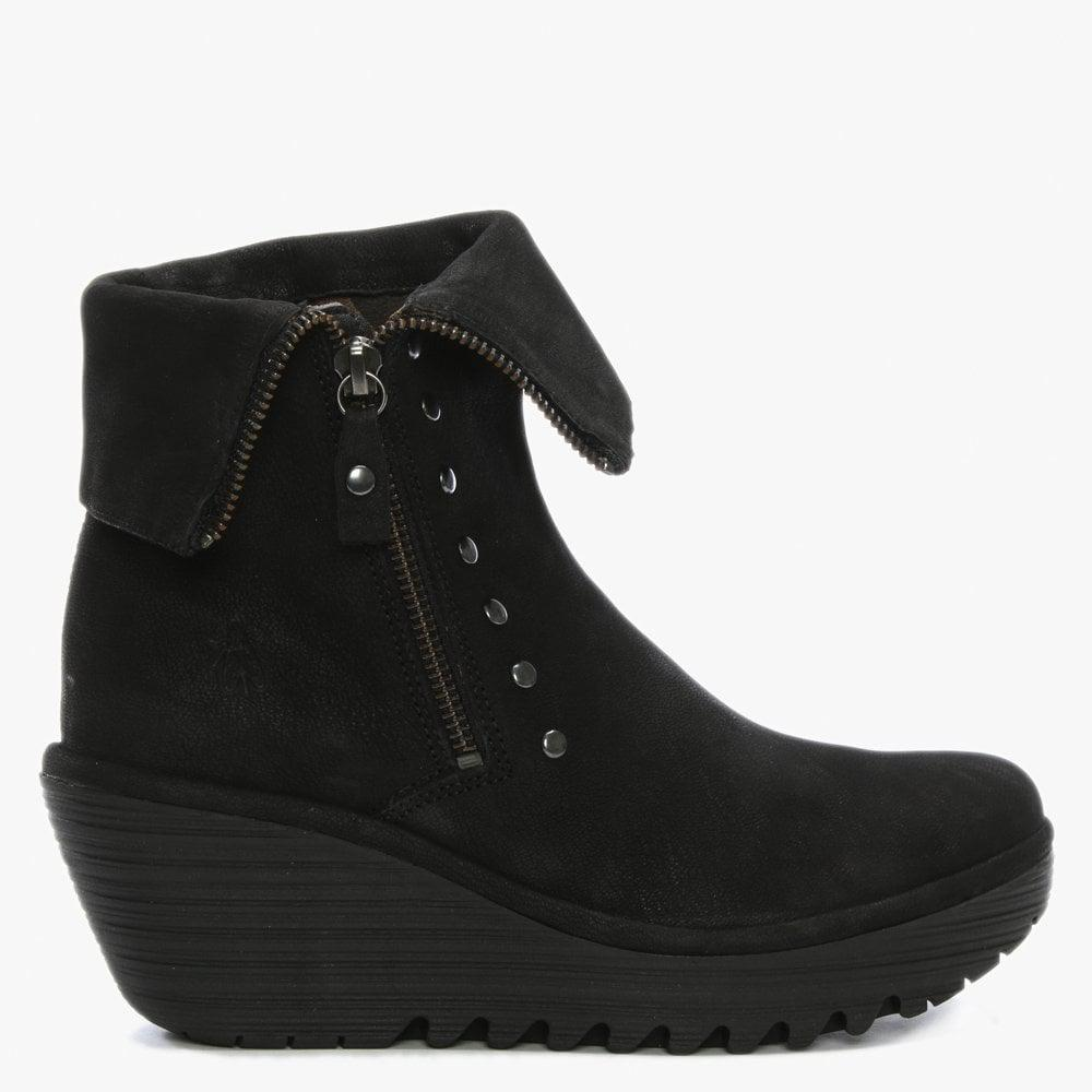 3409241982d Fly London Yemi Black Suede Mid Wedge Ankle Boots in Black - Save 54 ...