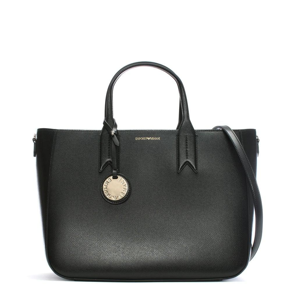 Emporio Armani Frida Black Textured Tote Bag in Black - Lyst 8bfe02599bee0