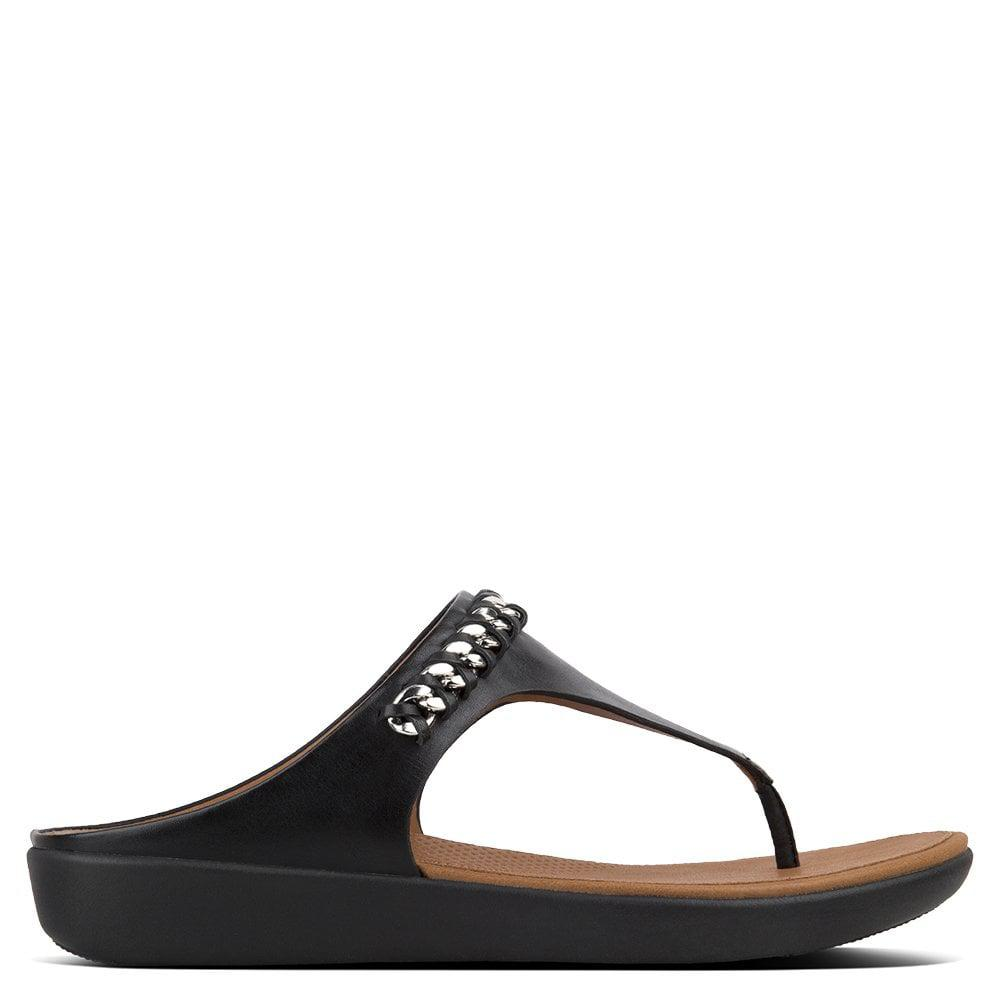 ed900be30 Lyst - Fitflop Banda Chain Black Leather Toe Post Sandals in Black