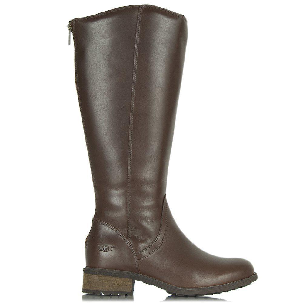 UGG. Women's Brown Seldon Dark Chestnut Leather Knee Boot