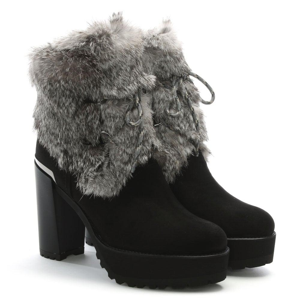 low shipping fee online Stuart Weitzman Fur-Trimmed Leather Boots clearance footlocker pictures free shipping wide range of nmfCYArc