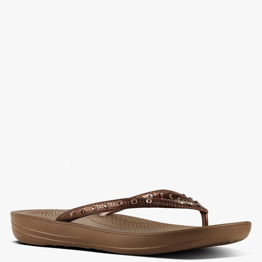 c7c13beff70d3 Lyst - Fitflop Iqushion Crystal Bronze Toe Post Flip Flops in Brown