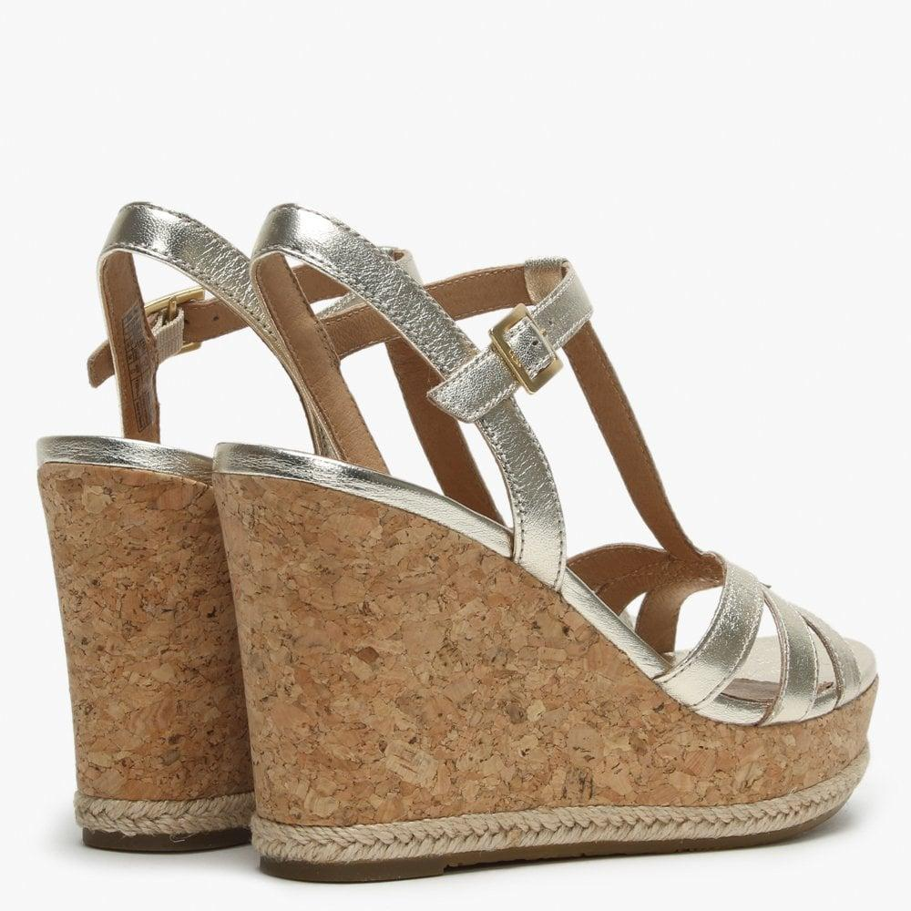 d9bfcf65373 Lyst - UGG Melissa Gold Metallic Leather T Bar Wedge Sandals in Metallic