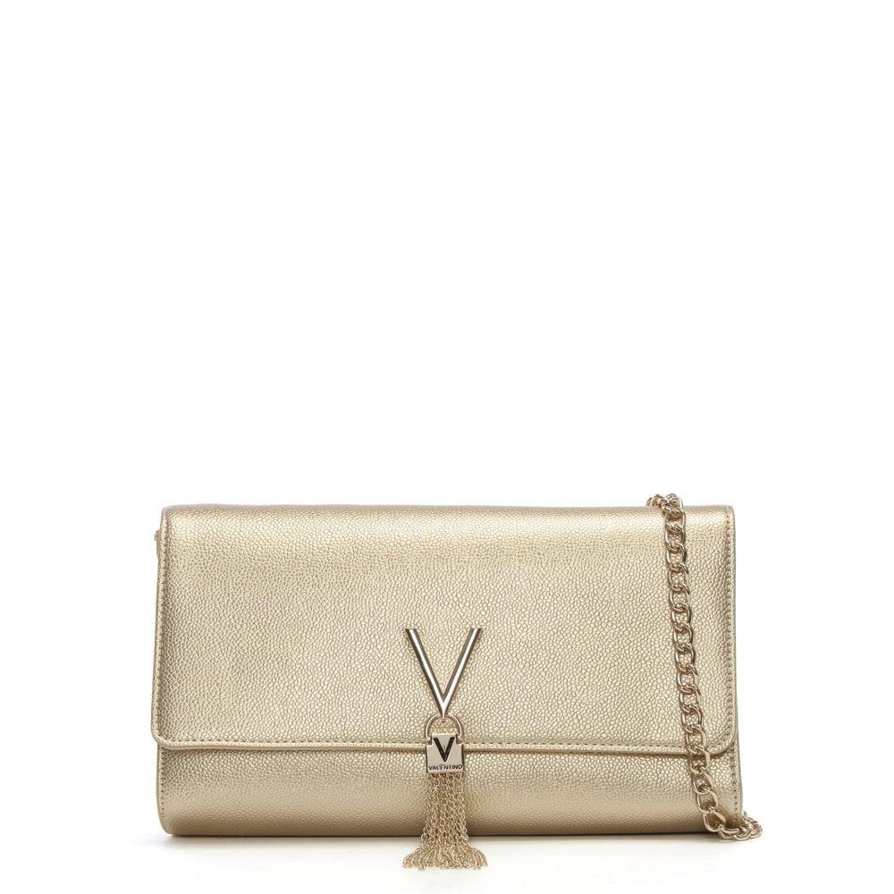 7dd162bddfd9 Valentino By Mario Valentino Divina Gold Pebbled Clutch Bag in ...
