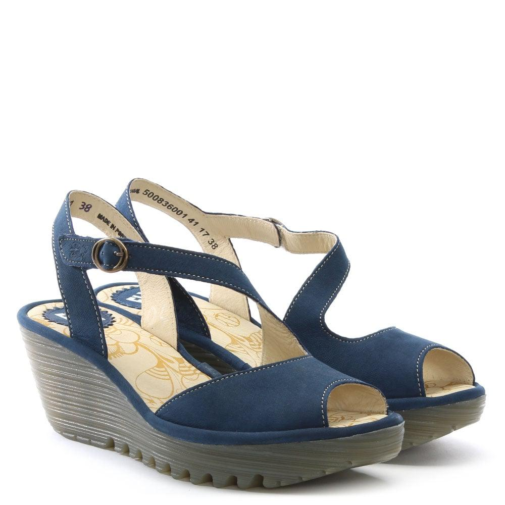 Lyst Fly London Yamp Navy Leather Asymmetric Strap Sandals In Blue Inside Flats Cariana 38 Gallery