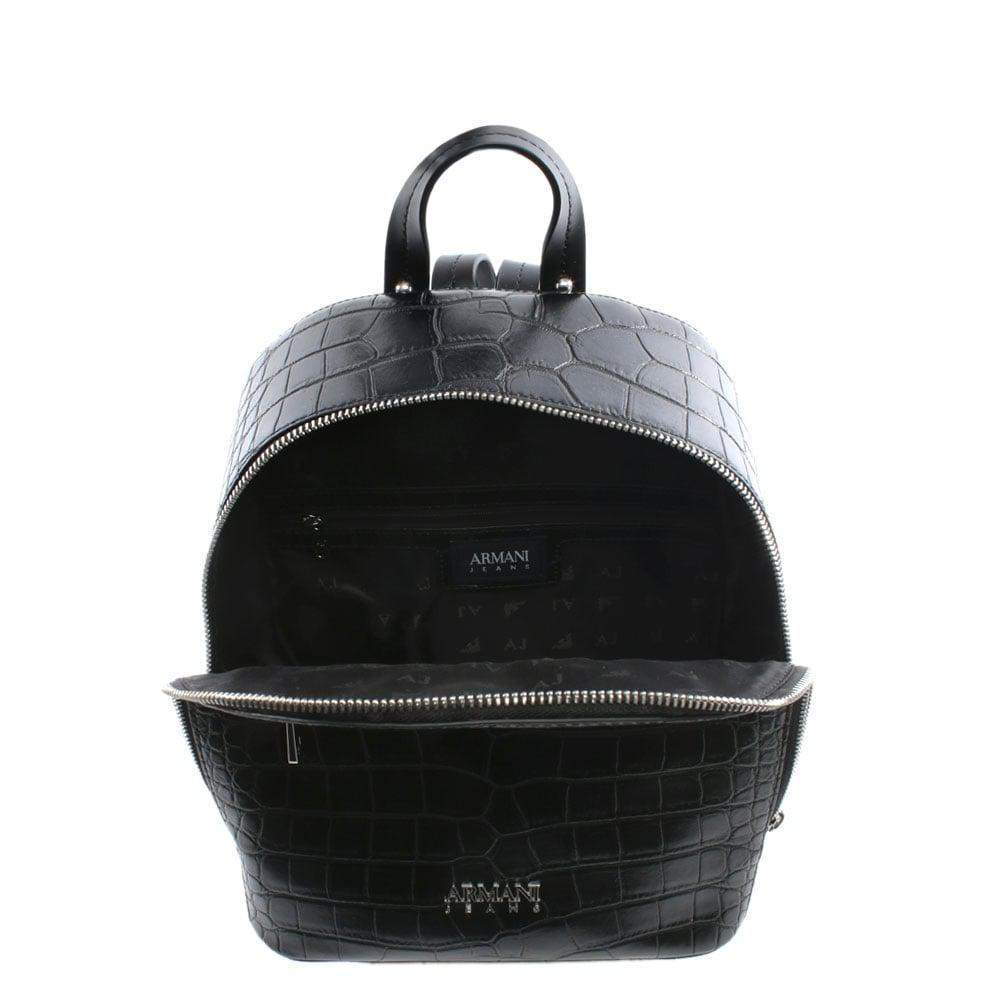8aebd9b908bb Lyst - Armani Jeans Reptile Black Eco Leather Backpack in Black