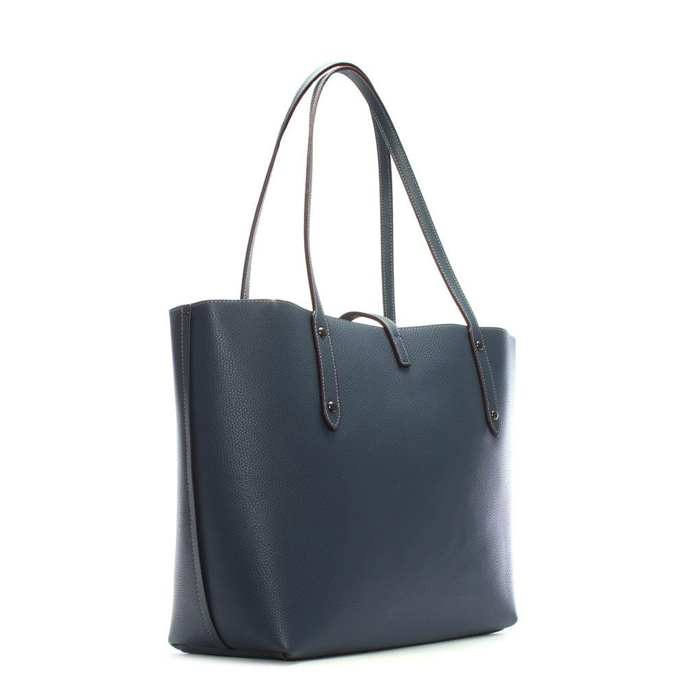 Tote - Pebbled Leather Market Tote Dark Denim Marigold - blue - Tote for ladies Coach