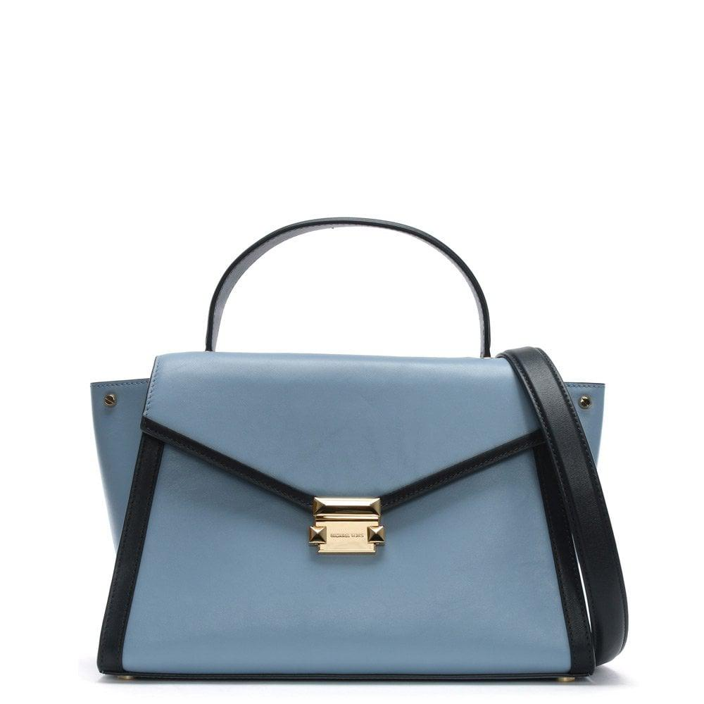 2930db5fa552 Michael Kors. Women s Large Whitney Pale Blue   Admiral Leather Satchel Bag