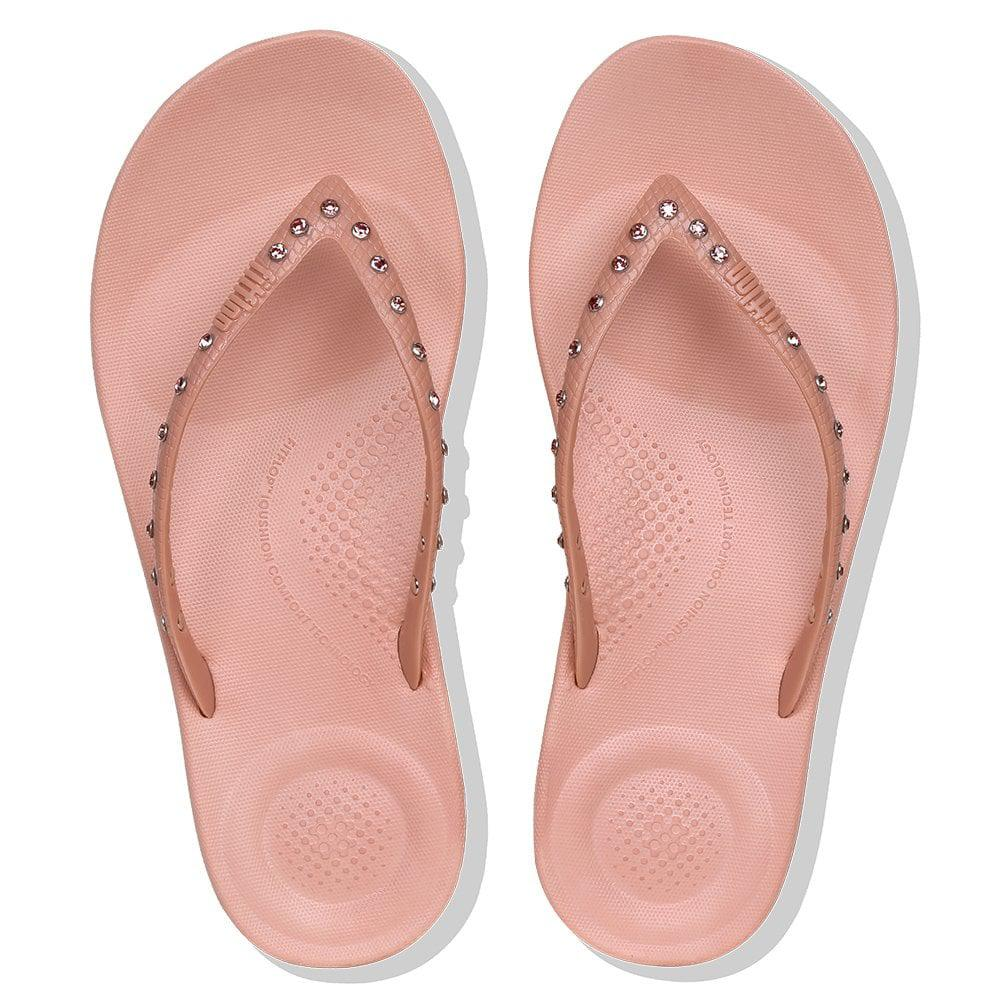 8cea7090e843c Fitflop Iqushion Crystal Dusky Pink Toe Post Flip Flops in Pink ...