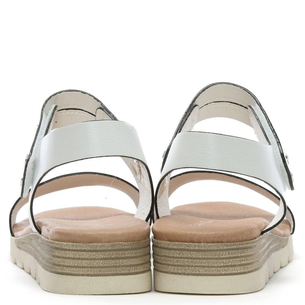 936c30f68a4 Daniel Likely White Leather Low Wedge Sandals in White - Lyst