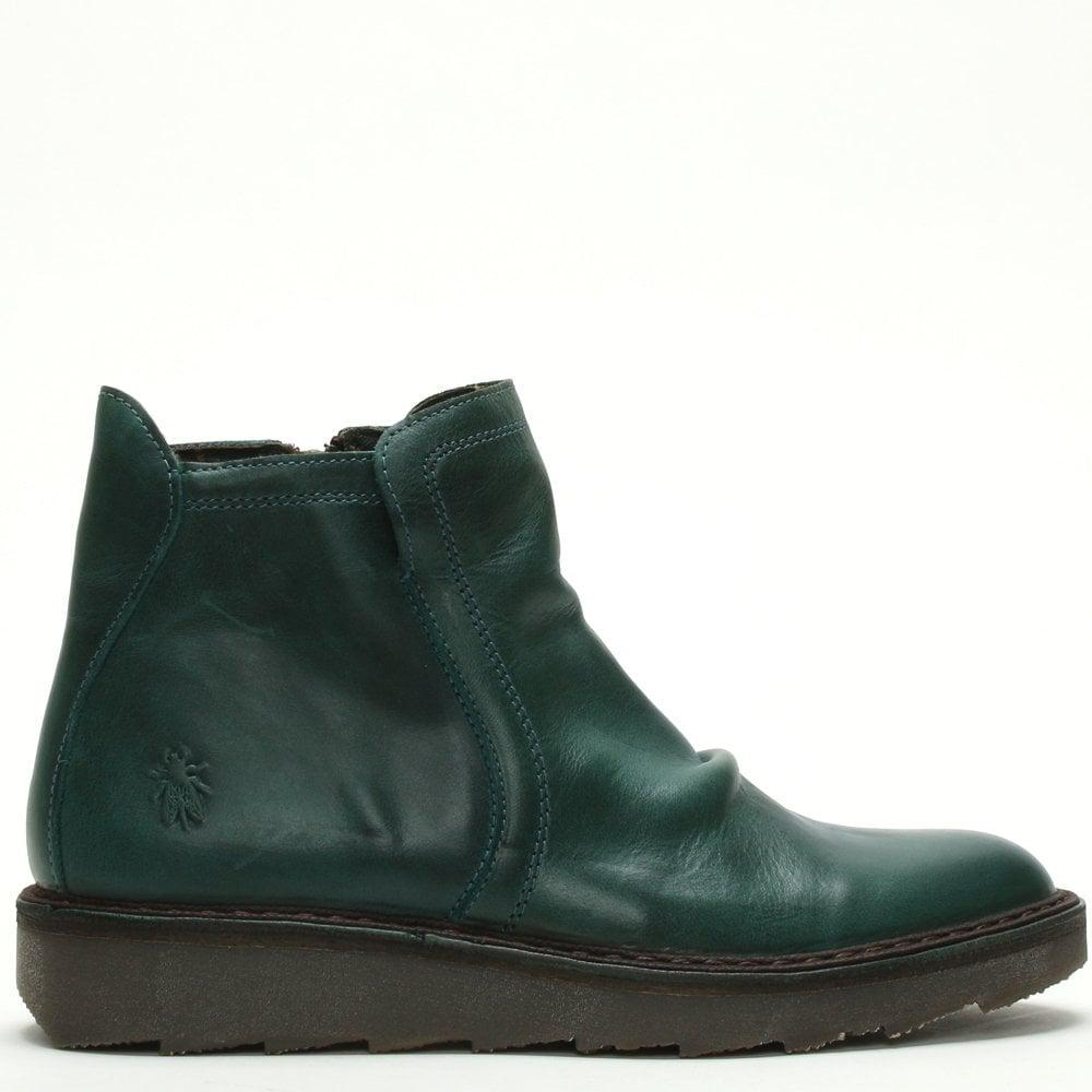 0615a8d4a08982 Fly London Adit Petrol Leather Chelsea Boots in Green - Lyst