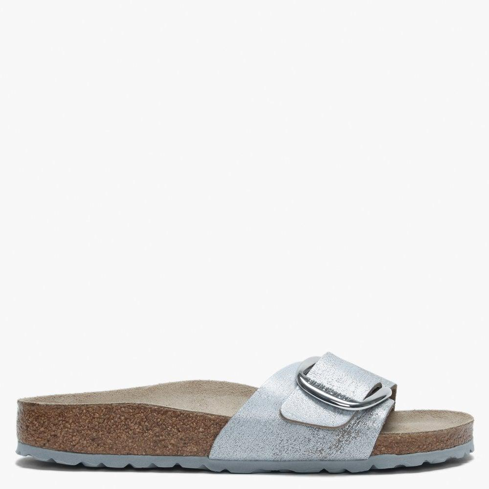 1975260a6f896 Birkenstock Madrid Big Buckle Washed Metallic Blue Silver Leather ...
