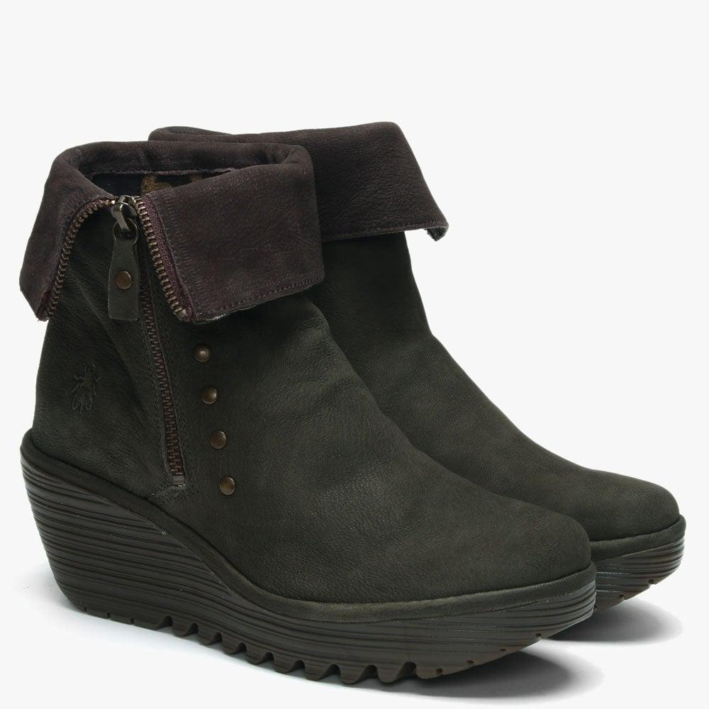 e164550c76d5 Lyst - Fly London Yemi Seaweed & Chocola Leather Mid Wedge Ankle Boots