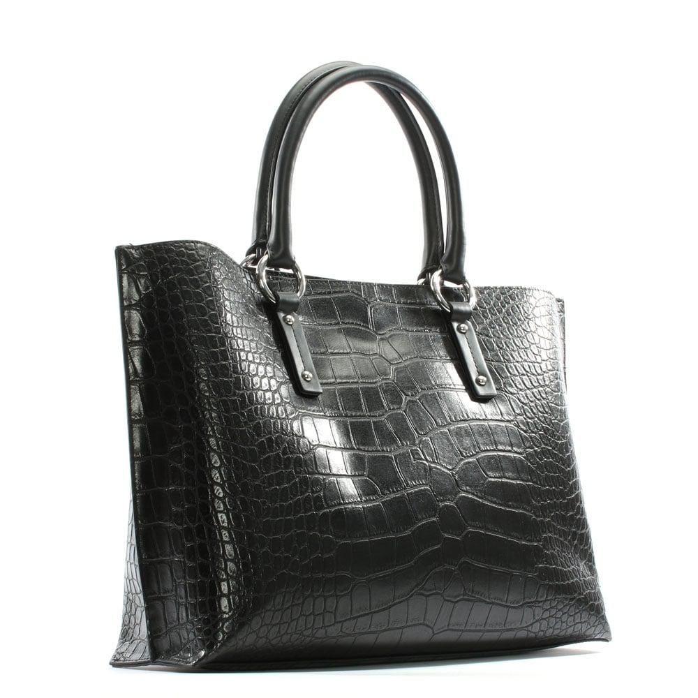 2f860bc9e4c8 Lyst - Armani Jeans Reptile Black Eco Leather Top Zip Shopper Bag in ...